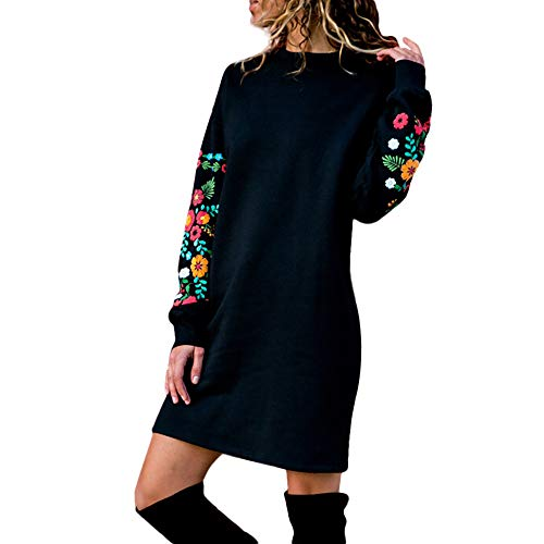 - iFOMO Womens Autumn Winter Long Sleeve Casual Mini Floral Embroidered Sweatshirt Sweater Dress(Black,S)
