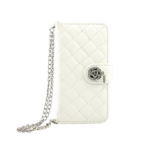 iPhone 6 case, GEARONIC TM Luxury Magnetic Bling Wristlet handbag Flip Leather Cover Hard Skin Pouch Holder Wallet Case Cover for Apple iPhone 6 - White
