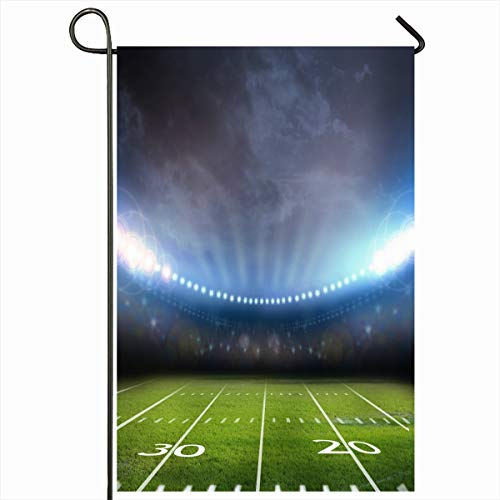 Ahawoso Seasonal Garden Flag 12x18 Inches Turf Green American Light Stadium Sports Recreation Rugby Field Technology Baseball Night Soccer Home Decorative Outdoor Double Sided House Yard Sign
