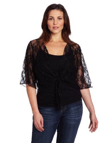 Star Vixen Women's Plus-Size 3/4 Sleeve Lace Tie Front Shrug Sweater, Black, 3X