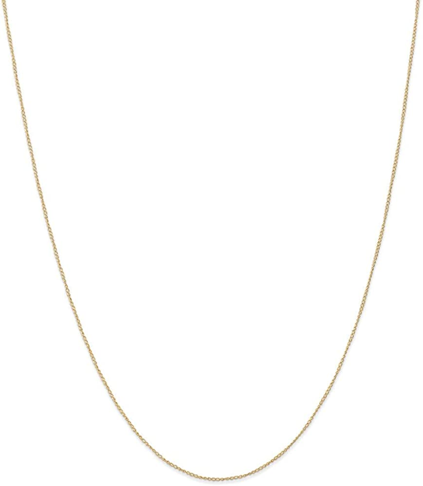 14k Yellow Gold .5 Mm Link Curb Chain Necklace 18 Inch Pendant Charm Carded Fine Jewelry Gifts For Women For Her