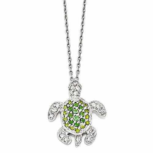 ICE CARATS 925 Sterling Silver Glasssimulatedperidot/simulatedemeralz Turtle 18in. Chain Necklace Pendant Charm Cz Sea Life Fine Jewelry Ideal Gifts For Women Gift Set From Heart (Turtle Peridot)