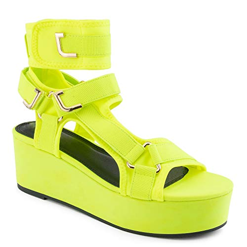 RF ROOM OF FASHION Strappy Elastane Harness Chunky Platform Wedge Heel Sandals NEON Yellow Size.7
