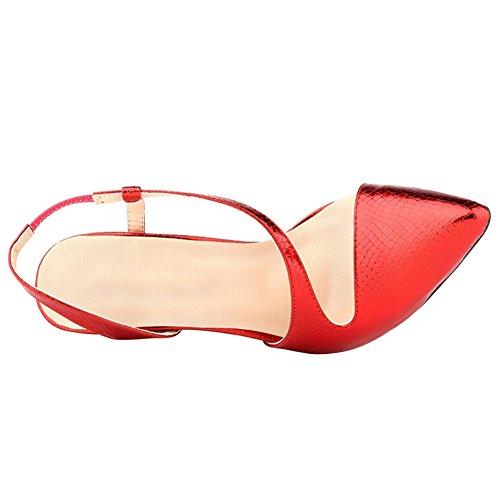 Fereshte Donna Scarpa Con Tacco Alto Pelle Di Serpente Vestito Sandali Pompa Colore Rosso Serpente