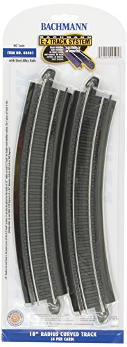 "Bachmann Trains Snap-Fit E-Z Track 18"" Radius Curved Track (4/card) (Radius Curve Bachmann Trains)"