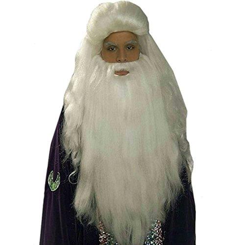 Popcandy White Sorcerer Wig and Beard Set Merlin Wizard Father Time (Merlin Wig And Beard Set)