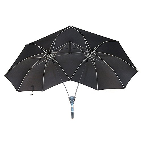 Novelty Two Person Umbrella Lover Couples Umbrella Two Head Double Size Tall Umbrella Gift for Lovers (Black) For Sale