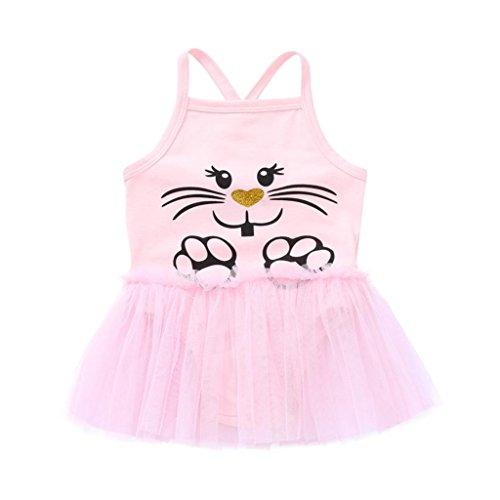 Ankola Girls Jumpsuit,Newborn Toddler Baby Girls One-pieces Cartoon Dog Print Tutu Strap Romper Jumpsuit Outfits (Pink, ()
