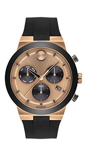 Reloj de cuarzo suizo de acero inoxidable Movado para hombre con correa de silicona, negro, 27 (modelo: 3600711)