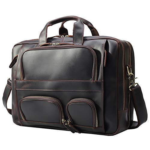 (Texbo Men's Solid Top Cowhide Leather Large 17.3 Inch Laptop Briefcase Messenger Bag Tote Fit Business Trip )