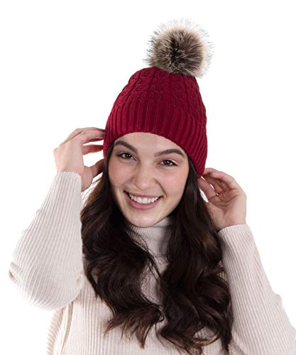 AbbyLexi Womens Faux Fur Pompom Cable Knit Winter Beanie Hat