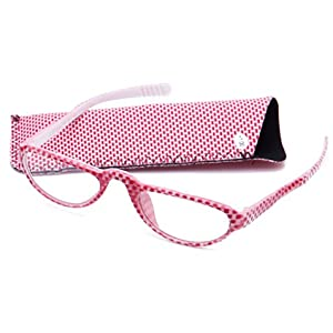 Eye-Zoom® Women Checks Cute Fashion Reading Glasses with Pouch (Red, Strength: +2.00)