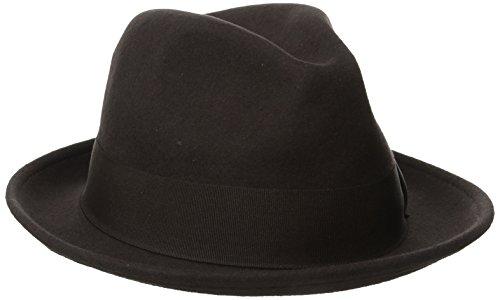 STACY ADAMS Men's Wool Felt Pinch Front Fedora Hat, Chocolate, - Front Fedora Pinch