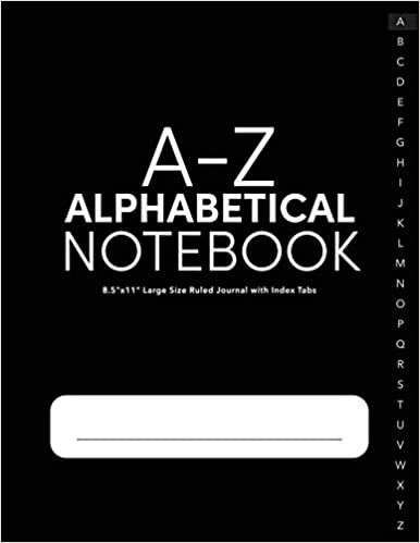 A Z Alphabetical Notebook 8 5 X11 Large Size Ruled Journal