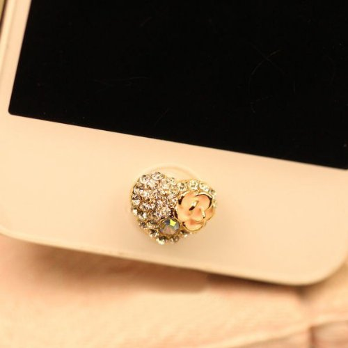 Brandbuy(TM)1 pcs Bling Fully-Jewelled Flowers Heart iPhone Home Button Sticker for iPhone 4,4s,4g, iPhone 5,5s,5c,6,iPad, Cell Phone Charm