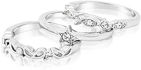 FAPPAC Rhodium Plated Crystals Set of 3 Stacking Ring Enriched with Swarovski Crystals