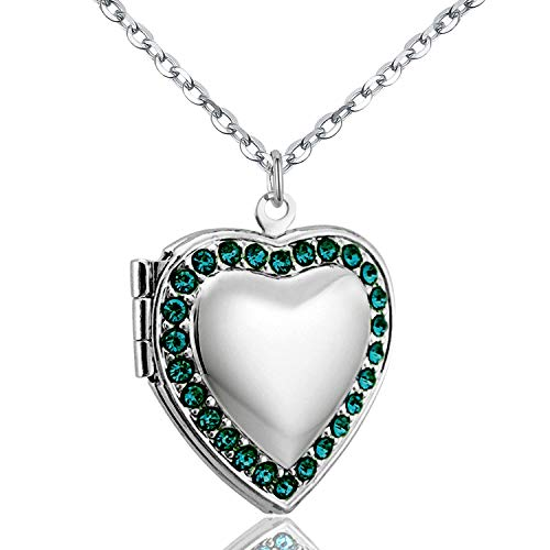 - Power Wing May Birthstone Green CZ Love Heart Locket Necklace That Holds Pictures Living Memory Lockets,18