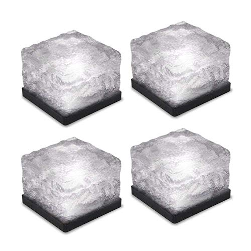 WONFAST 4 Pack Solar Path Ice Cube Lights Outdoor, Waterproof Glass LED Glass Clear Brick In-groud Buried Festive Light Night Lamp Garden Courtyard Pathway Patio Pool Pond Decoration (White)