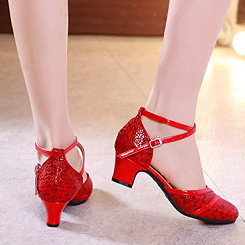 Zapatos Mujer Cerrada De Altos Señoras Rendimiento Sandalias Estándar Latino Red Punta Cuero Tacones Para Baile Chicas Entrenamiento 0T0qrXn