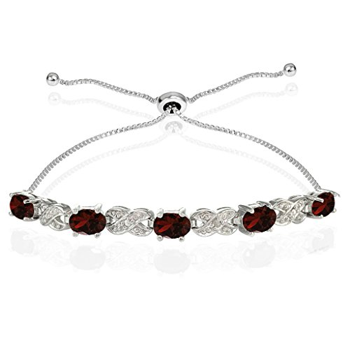 (Sterling Silver Genuine Garnet Infinity Adjustable Bracelet)