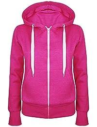 Oops Outlet Women's Plain Hooded Sweatshirts Zip Top Hoodies Coat Jacket Hoody