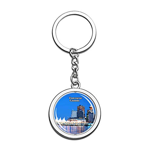 Keychain Granville Island Vancouver Canada Keychain 3D Crystal Spinning Round Stainless Steel Keychains Travel City Souvenir Key Chain - Granville Island Vancouver