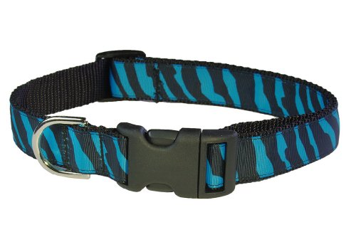Large Turquoise/Black Zebra Dog Collar: 1″ wide, Adjusts 18-28″ – Made in USA., My Pet Supplies