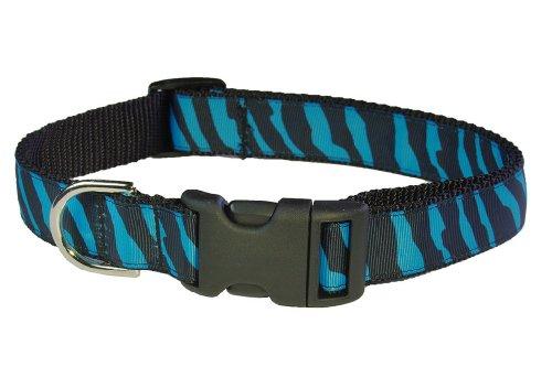 Sassy Dog Wear 18-28-Inch Turquoise/Black Zebra Dog Collar, Large