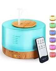 Hianjoo Aroma Diffuser 500 ml luchtbevochtiger met timer, ultrasone aromatherapie diffuser LED met 7 kleuren voor kantoor, yoga, spa, slaapkamer
