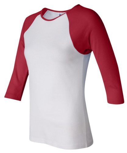 Bella+Canvas Ladies' Baby Rib 3/4-Sleeve Contrast Raglan Tee - White/ Red - L