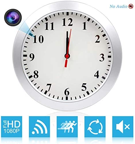 CAMXSW HD 1080P WiFi Spy Camera 5000mAh Battery Wall Desk Clock Hidden Camera Alarm Clock for Home Security Nanny Cam Support iOS Android PC Remote Real-time Video and Motion Detection Alarm