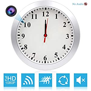 AMCSXH HD 1080P WiFi Spy Camera (5000mAh Battery) Wall Desk Clock Hidden Camera Alarm Clock for Home Security Nanny Cam…