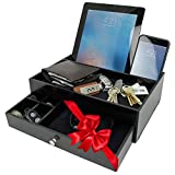nightstand decorating ideas Ideas In Life Valet Drawer Charging Station - Black Nightstand Organizer Wallet and Key Tray Holds Watches, Jewelry, Tablet - 5 Compartment Cell Phone Holder for Men and Women