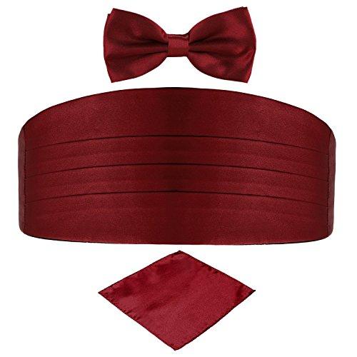 Men's Satin Belt Cummerbund Bow Tie Pocket Square Handkerchief Hanky Set Tuxedo Party (Wine Red)