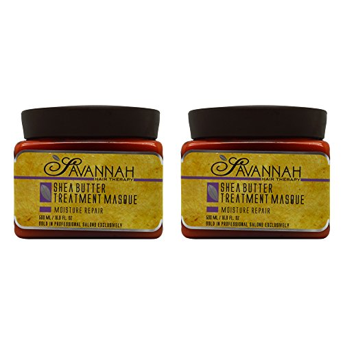(Savannah Hair Therapy Treatment Mask - Shea Butter, Cotton and Silk Protein and Vitamin B6 - For Dry and Damaged Hair. Sodium Chloride and Sulfate Free. 16.9 oz Pack of 2)