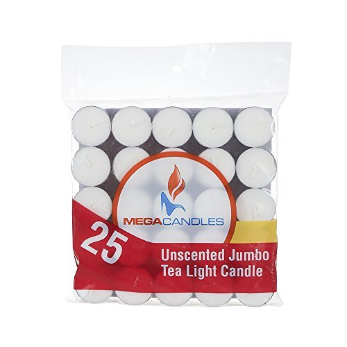 Mega Candles - Unscented Jumbo Tea Light Candles - White, Set of 25 CGA104-W