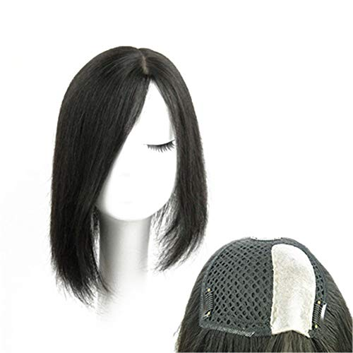 """Straight Human Hair Crown Toppers for Women Baldness, Thick Topper Wig Hairpieces for Thinning Hair with Natural Parting, Left Part 16"""""""