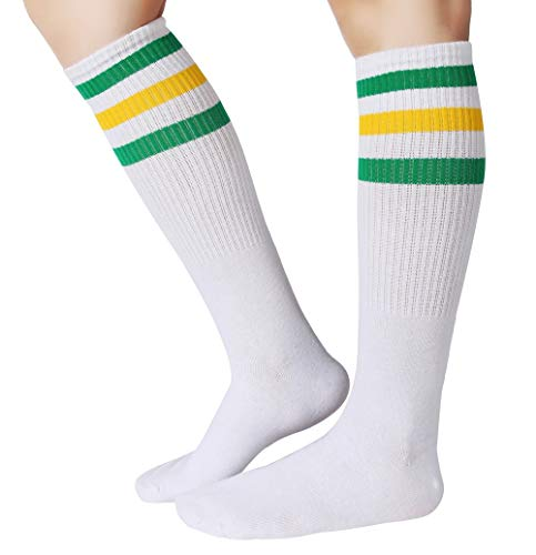 Eleray 1 to 3 Pairs Classical Triple Stripes Soft Cotton Over-the-Calf Retro Tube Socks (a-Pair(Green/Yellow/White))