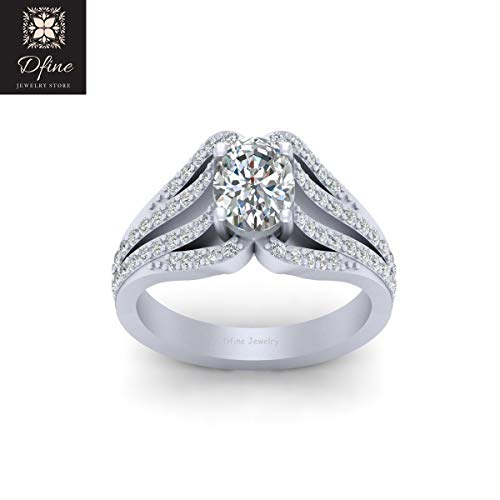 Solid 14k White Gold Trellis Set Oval Cut Diamond Promise Ring Anniversary Gift For Her - Trellis Diamond Cut Ring
