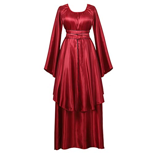 Zhitunemi Women's Halloween Cosplay Costume Renaissance Medieval Irish Over Lolita Dress Victorian Retro Gown Role Wine Red-M for $<!--$19.99-->