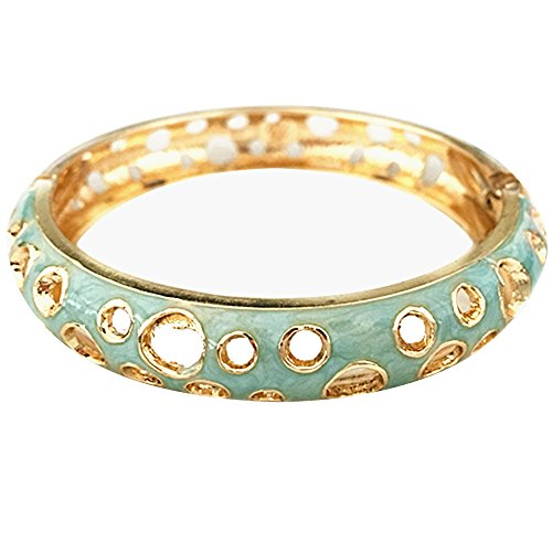 UJOY Fashion Bangles Gold Plated Open Cuff Clasp Hinged Hollow Bracelets Womens Jewelry Gift 55C35 Green