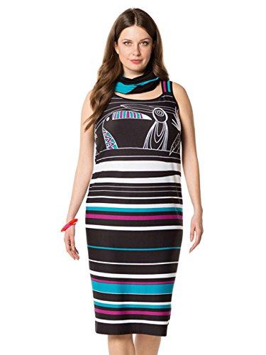 Schwarz Streich Größen Stripes Multicolour Damen Sommerkleid Große Doris x4qPc1Tw1