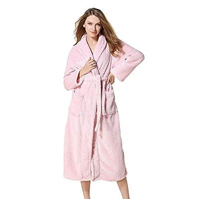 WUAI Womens Fleece Robe Coat Winter Lengthened Coralline Plush Shawl Bathrobe