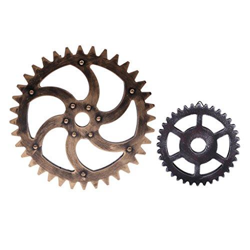 MonkeyJack 2PCS Vintage Steampunk Gear Wheel Wall Art Decorations Best Gift 29/12cm