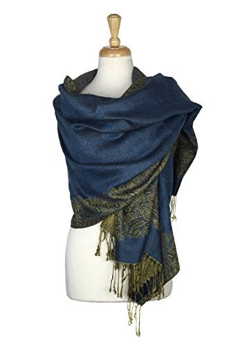 Thick Silk Scarf (Paskmlna Border Pattern Double Layered Reversible Woven Pashmina Shawl Scarf Wrap Stole (#10),Large)