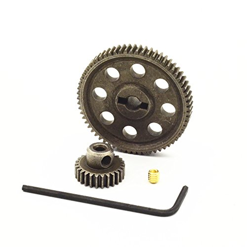 DiDi/iRC Metal Steel 18114 Differential Main Spur Gear 64T & 11176 Pinion Gear 26T Fit for Redcat Volcano EPX HSP 1:10th Monster Truck Car 1-Set ()