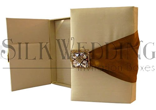 Desert Sand Silk Wedding Box With Antique Gold Ribbon and Brooch