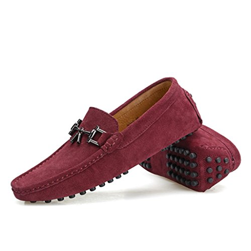 TDA Mens New Designer Buckle Suede Loafers Drving Boat Shoes Wine Red XgBqULKrI