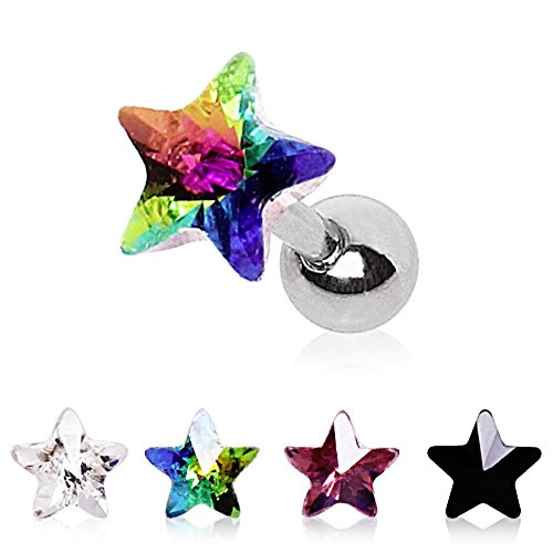 316L Surgical Steel Star Prism Cartilage Earring (Sold - Mens Earrings Cube