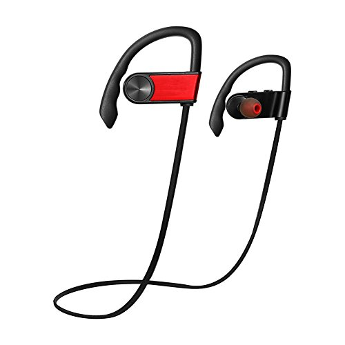 Evary Bluetooth 4.0 Wireless Aluminum Sport Headphones Hands Free Stereo Headset Noise Cancelling Earphones with Microphone for Smartphones/Devices and More(Red)